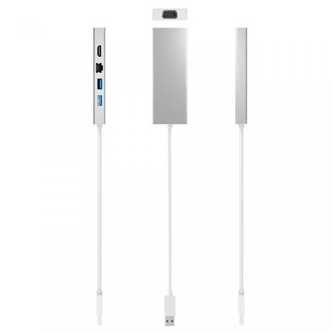 U3-D9080 USB 3.0 Mini Dock with HDMI VGA Dual Display /Gigabit Ethernet /USB HUB 5